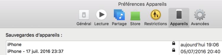 Sauvegardes iPhone iTunes