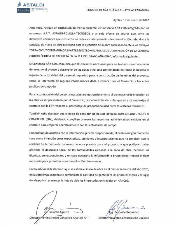 QUCOZ56UYNG27GK3TGSPAJQKRQ Desorganización y confusión sobre contratación de personal en Aña Cuá