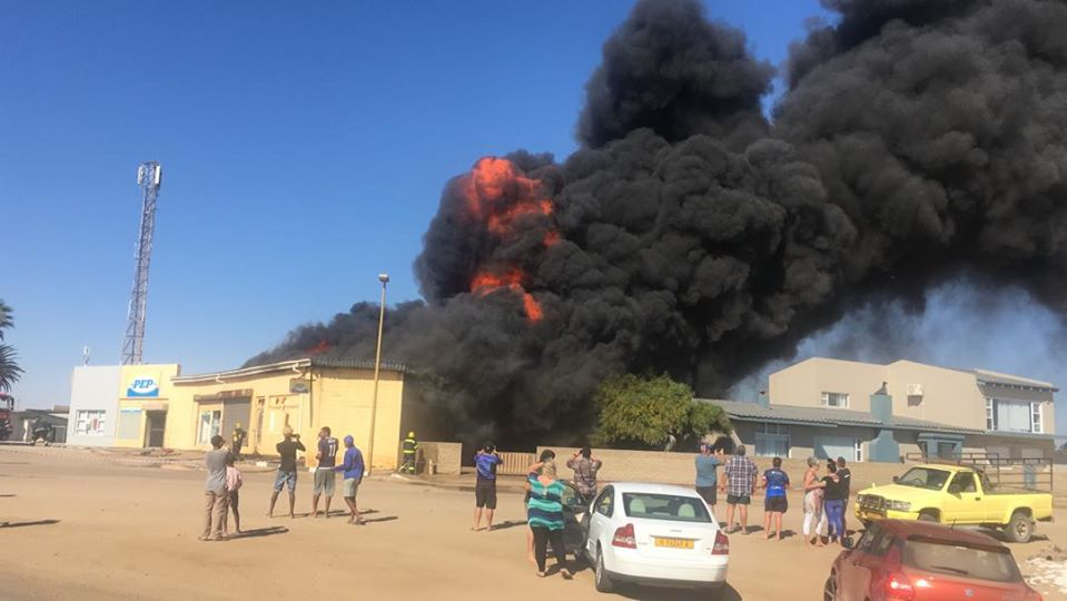 Henties Bay residents discovered fire small shopping complex centre Sunday afternoon