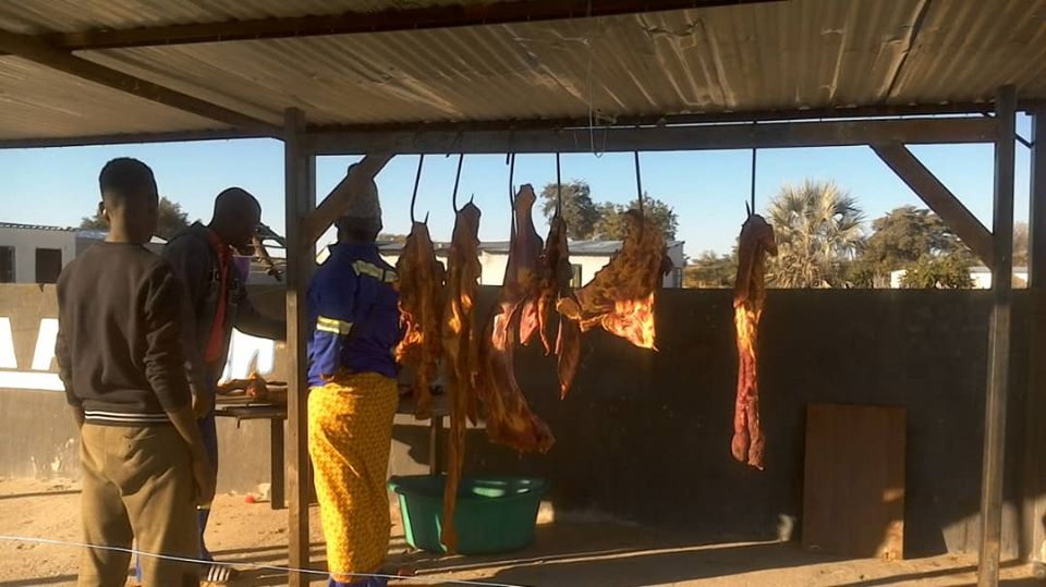 cattle goat meat make-shift poles temporary structures travelling Northern regions