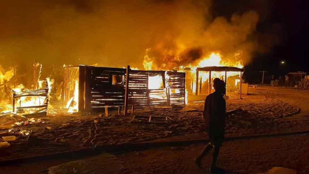 Twaloloka informal settlement Walvis Bay riot wake fire destroyed entire block shacks