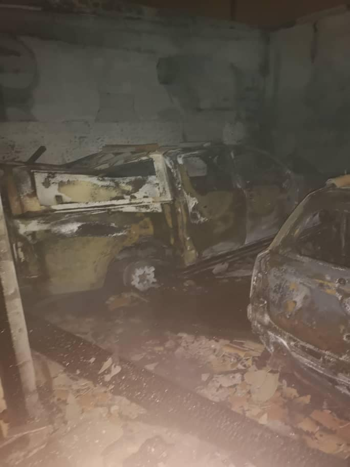 Fire destroys garage car battery destroyed three vehicles house Cyrill Fernandez Street Huis Palms old age home Walvis Bay