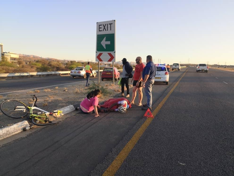 Top cyclist injured hit run Lotto Petrus Namibia professional cyclists bicycle
