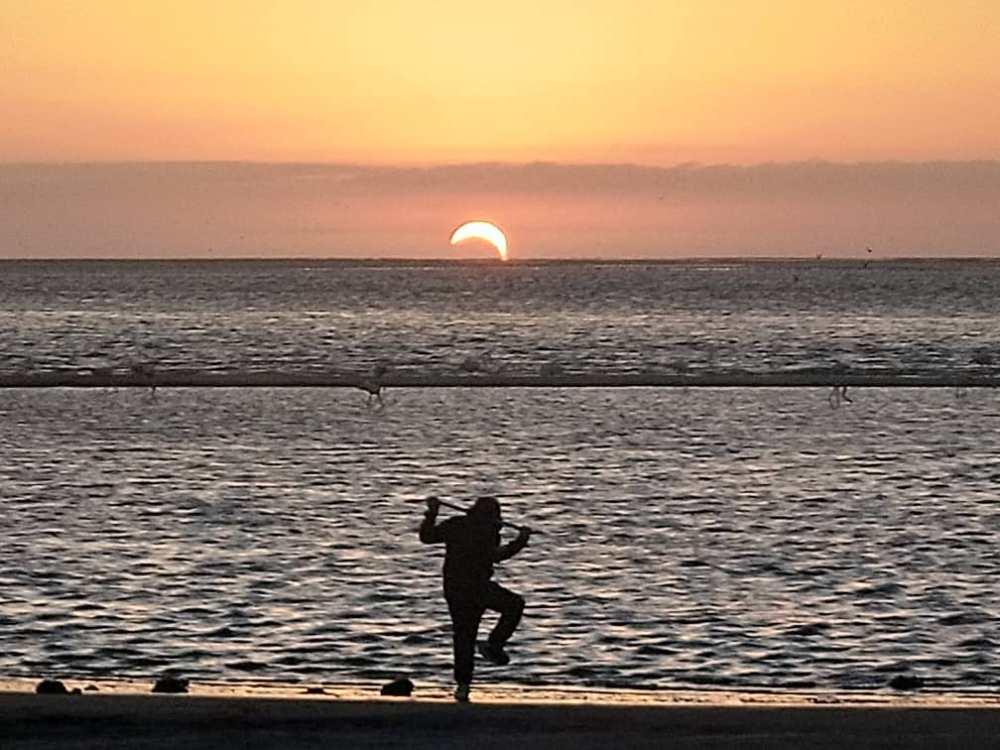 Solar eclipse Namibians Atlantic Ocean view 2020