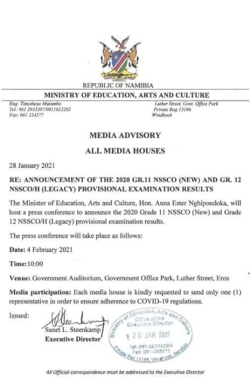 Grade 11 12 results Ministry Education Arts Culture February 2021 announce provisional NSSCO