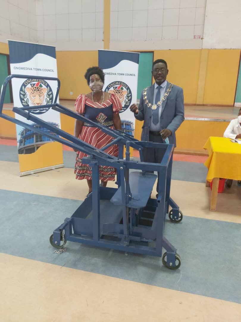 Brick-making machine donated Shack Dwellers Federation Ongwediva brick manufacturing machine