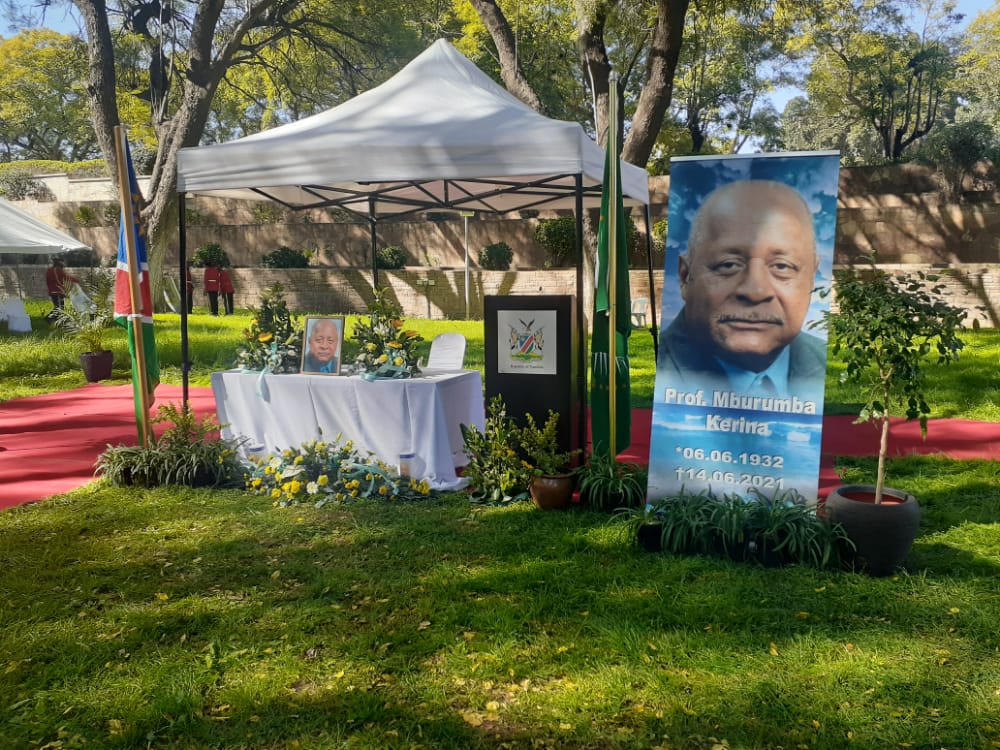 Namibians memorial service Namibia Parliament Gardens Windhoek late Professor Mburumba Kerina