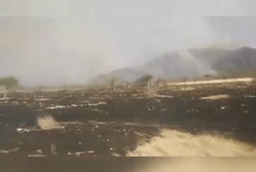 Massive bush fire burns out of control