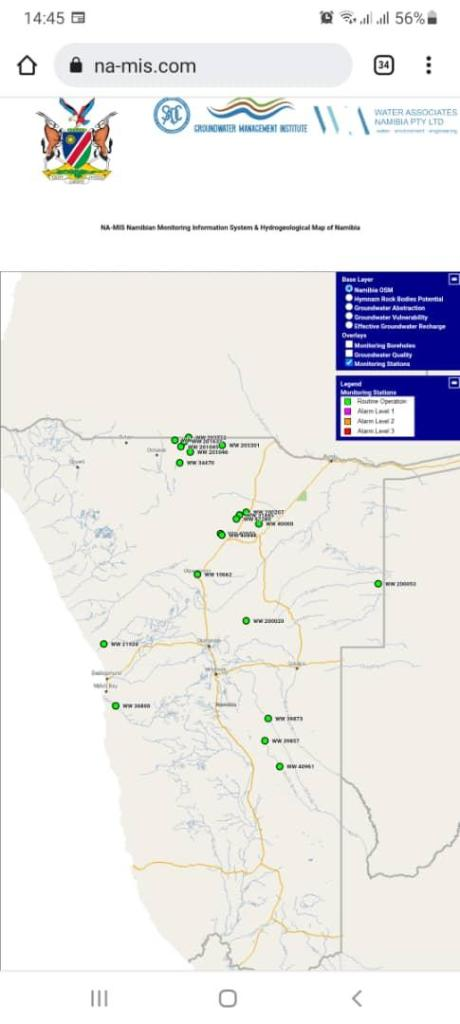 aquifers water scarcity Namibia ground water resources