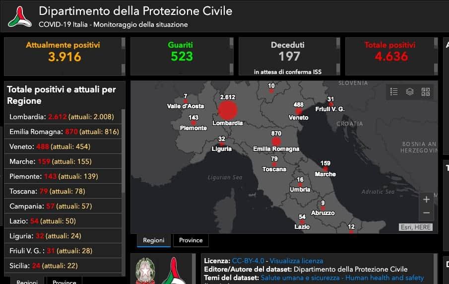 Covid-19: ecco la mappa interattiva della Protezione Civile