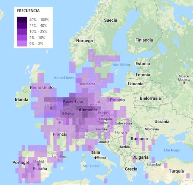 Distribución Europa ganso del Nilo