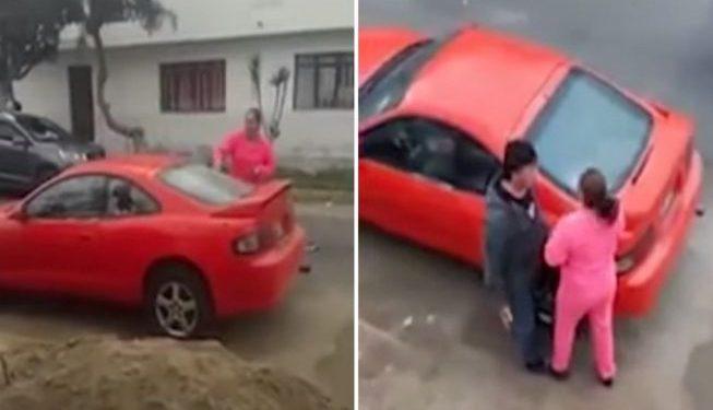 Venezolana destruye auto de su exnovio peruano porque volvió con su esposa