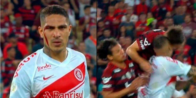 A Paolo Guerrero le rompen la cara, reclama como loco y lo expulsan en el Inter-Flamengo