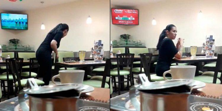 Mujer pelea con su novio invisible en pleno restaurante