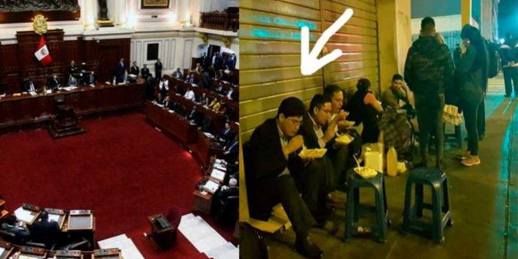 Captan a un congresista peruano comiendo en un puesto ambulante
