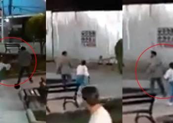 Mujer agarró a correazos a su pareja tras hallarlo tomando sus chelas con sus amigos