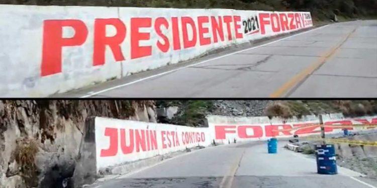 Aparecen pintas con propaganda política a favor de George Forsyth en Junín