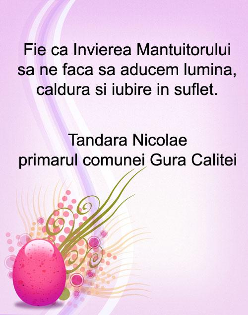 felicitare paste Tandara Nicolae