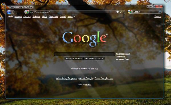 ffglass Google y Firefox con Aero Glass