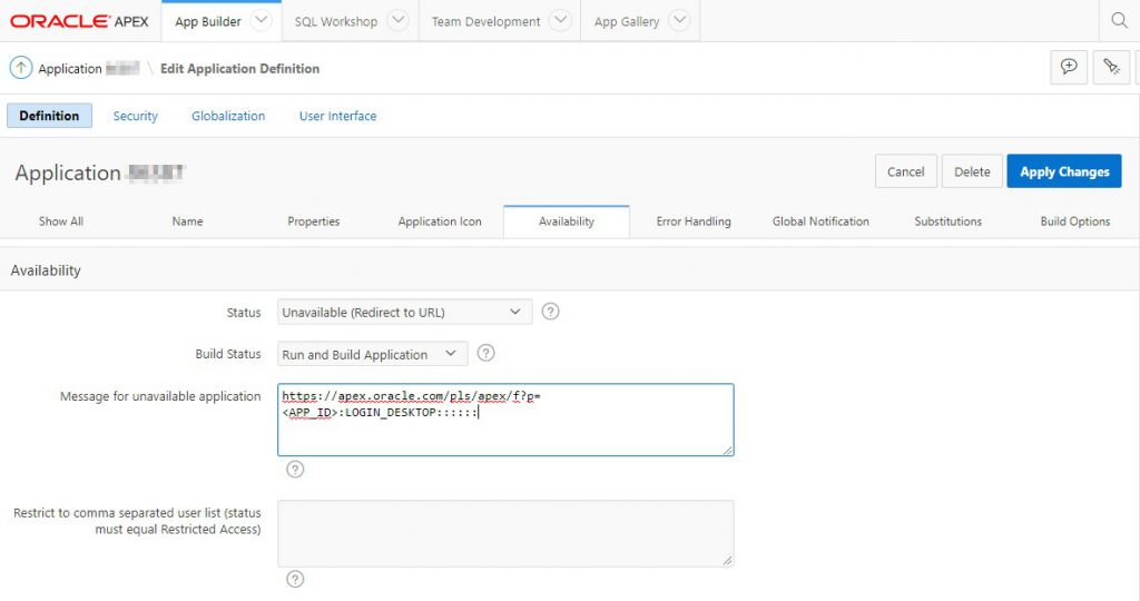 Redirect Oracle Application Express (APEX) Application