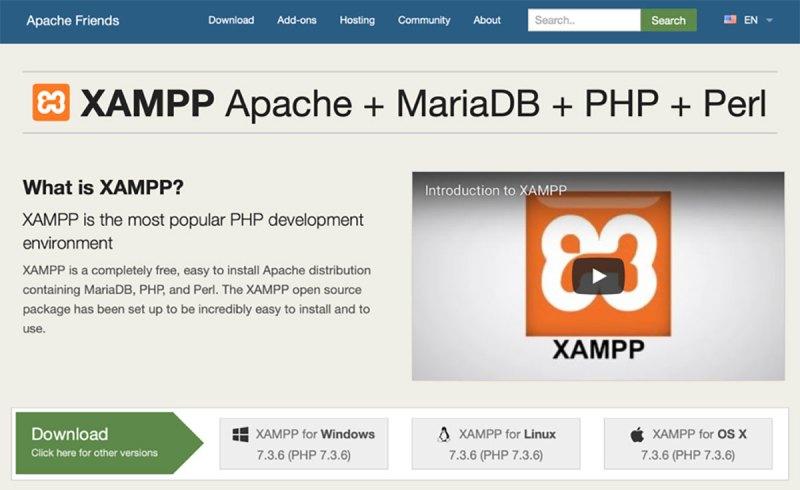 Situs Web XAMPP untuk memenuhi kebutuhan server Web dan Database