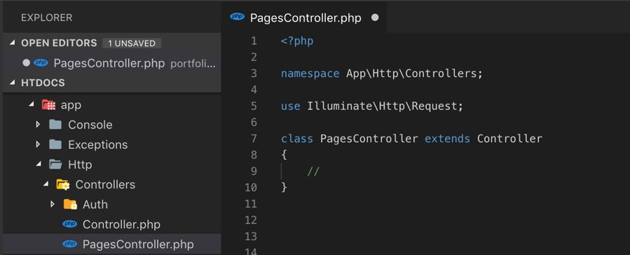 Isi File Controller yang dibuat melalui Artisan
