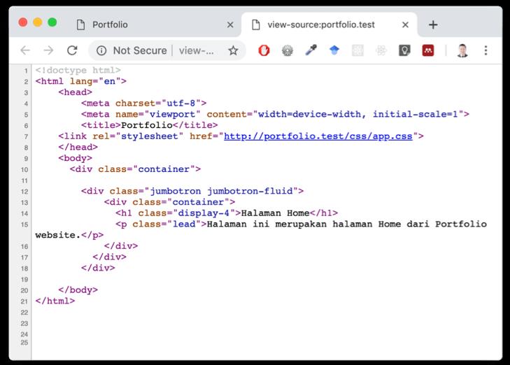 Source Code View dengan Jumbotron