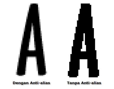 Tulisan atau gambar dengan dan tanpa anti-alias