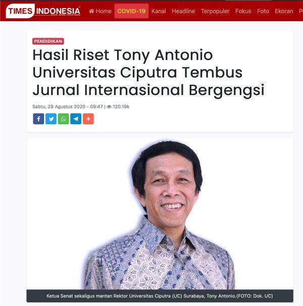 Screenshot Media Times Indonesia: Hasil Riset Tony Antonio Universitas Ciputra Tembus Jurnal Internasional Bergengsi