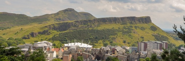 View from Calton Hill towards Arthur's Seat, taking in the Scottish Parliament amongst other buildings