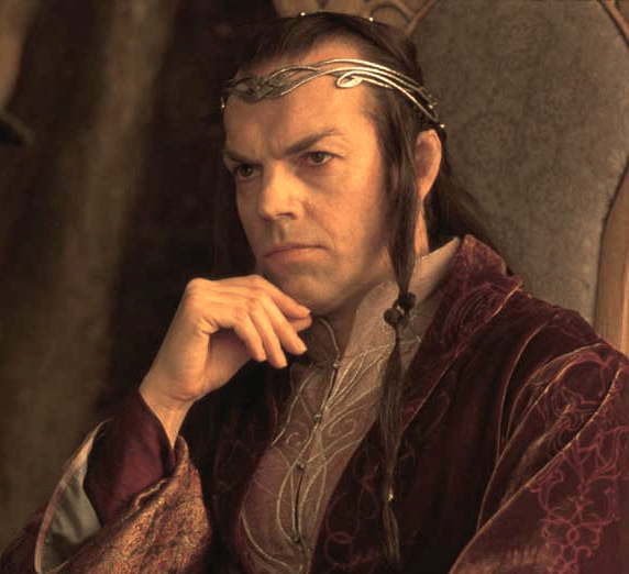 Hugo Weaving as Elrond in a tiara