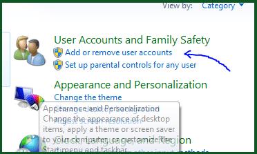computer control panel add or remove user accounts