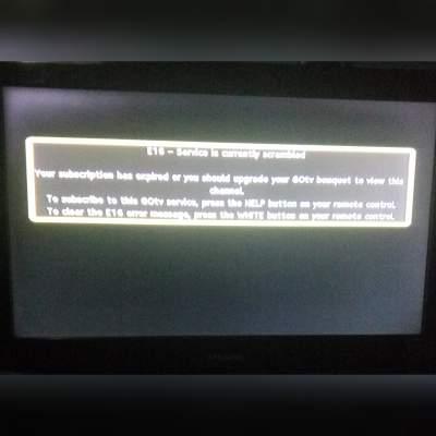 Gotv no subscription display - How to clear E-16 error on GOTV