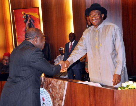 PRESIDENT GOODLUCK JONATHAN CONGRATULATING PROF. CHINEDU NEBO AFTER HIS SWEARING-IN AS MINISTER