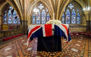 The coffin of Margaret Thatcher rests in the Palace of Westminster (LEON NEAL/AFP/Getty Images)
