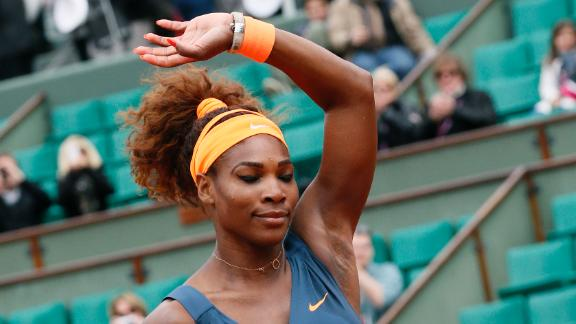 Serena Williams Waves To the French Crowd.
