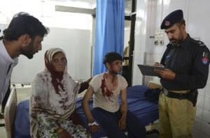 victims fielding questions from a policeman
