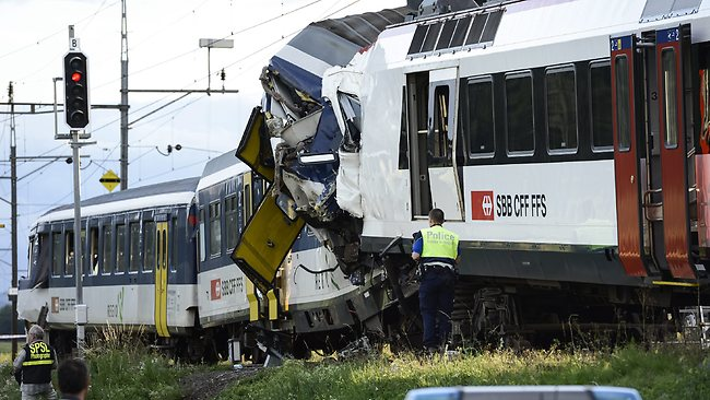 PHOTOS 2 Swiss Trains Collide Dozens Injured INFORMATION NIGERIA