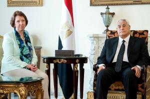 EU foreign policy chief Catherine Ashton with Egypt's interim President Mansour