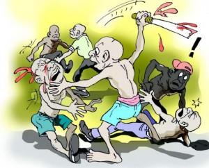 communal clash cartoon_358180653