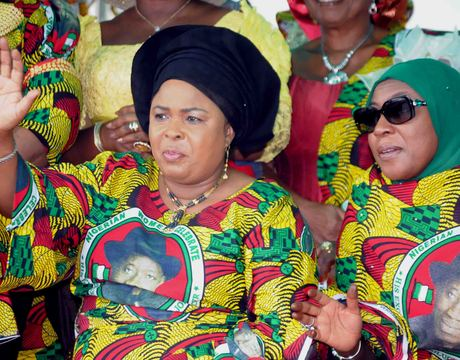 FIRST LADY, DAME PATIENCE JONATHAN (L), AND WIFE OF THE VICE-PRESIDENT, HAJIYA AMINA SAMBO AT THE CELEBRATION OF NIGERIAN WOMEN FOR PEACE AND EMPOWERMENT RALLY IN ABUJA RECENTLY