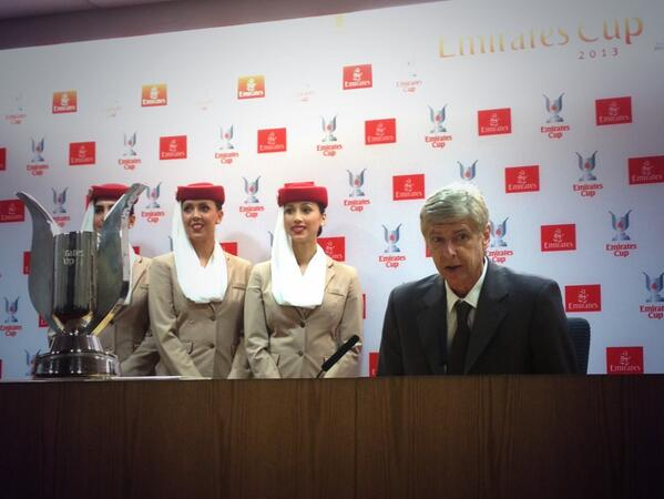 Wenger at the Emirate Cup Press Conference.