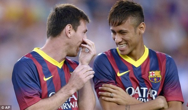 Lionel Messi and Neymar Before the Nou Camp Faithful.