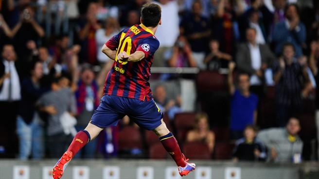 Lionel Messi Celebrates Scoring Against Ajax.