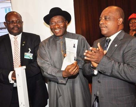 FROM LEFT: DIRECTOR-GENERAL, NATIONAL IDENTITY MANAGEMENT COMMISSION (NIMC), MR CHRIS ONYEMENAM; PRESIDENT GOODLUCK JONATHAN AND THE NIMC BOARD CHAIRMAN, PRINCE UCHE SECONDUS, AT THE OFFICIAL LAUNCH OF THE NATIONAL IDENTITY PROGRAMME AT THE PRESIDENTIAL VILLA IN ABUJA LAST MONTH