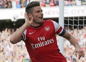 Arsenal's Giroud celebrates scoring against Tottenham Hotspur during their English Premier League soccer match at the Emirates, London