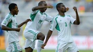 Elderson Echiejile Celebrates Super Eagles' Goal Against Tahiti.