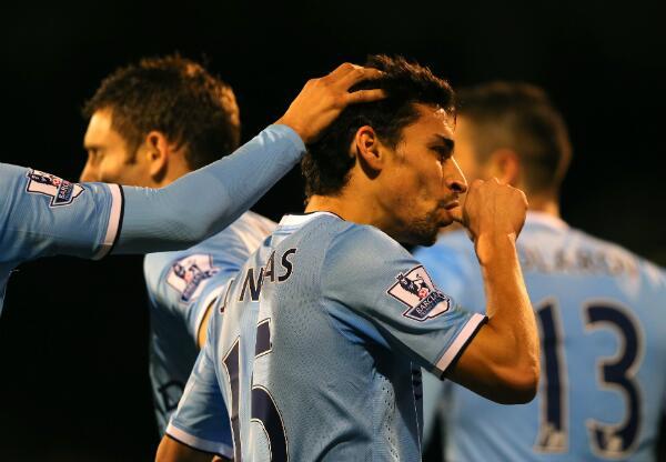 Jesus Navas Celebrates Goal Against Fulham.