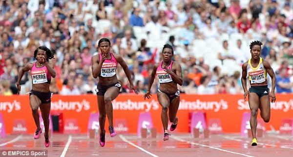 Image: EMPICS Sports via Daily Mail. Okagbare Finishes 10.79secs (African Record) in the 100m Ahead of Fraser-Pryce.