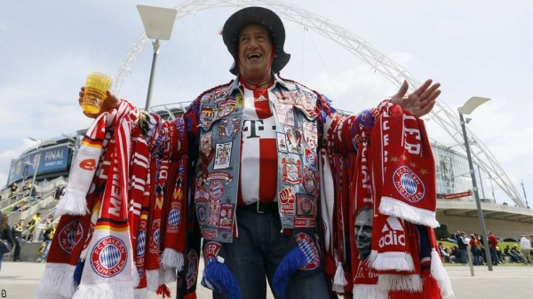 Bayern Muncih Fans Traveled En-Mass to London Ahead of Last Season's Wembley Final. Getty Image.